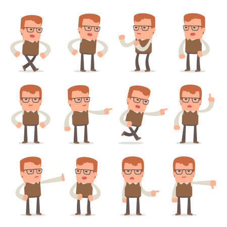 Set of Smart and Cute Character Genius making Presentation for using in Design, etc. Illustration