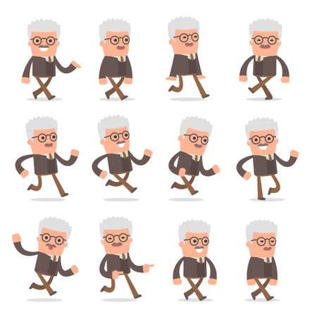 Set of Smart and Cute Character Professor making Presentation for using in Design, etc. Ilustração