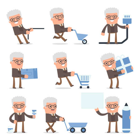 Set of Smart and Cute Character Professor making Presentation for using in Design, etc. Illustration