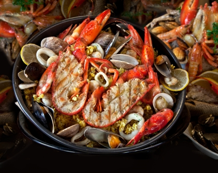 Seafood. Prepared Shellfish. Mediterranean. Background. photo