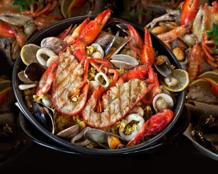 Vis en zeevruchten. Bereide Schaaldieren. Middellandse Zee. Achtergrond.