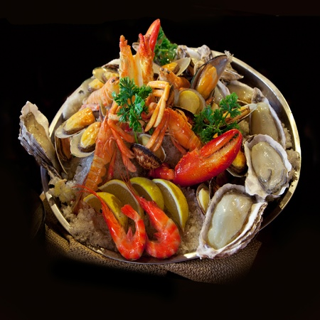 party tray: Seafood. Prepared Shellfish. Mediterranean.
