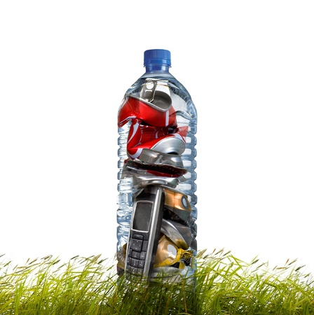 crushed aluminum cans: Products for recycling. Recycling-cans, phone, bottle.  Stock Photo