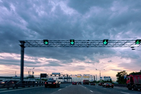 Evening highway. The urban landscape.