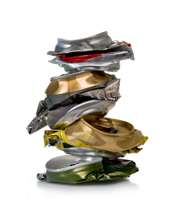 crushed aluminum cans: Can walking for recycling, isolated. Object.