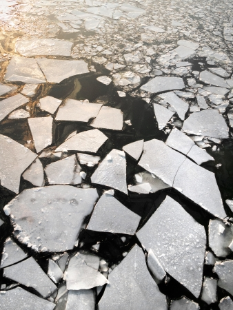 Ice drift on the river. Abstract background. Winter landscape. Stock Photo - 16925060