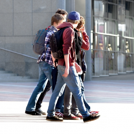 Merry band of teenagers  Urban scene  photo