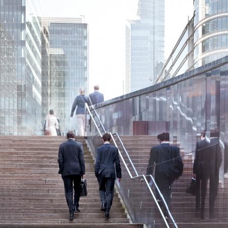 Mensen uit het bedrijfsleven in het kantoor centrum Urban scene Stockfoto