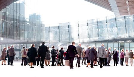 A large group of seniors. Panorama. Urban scene.