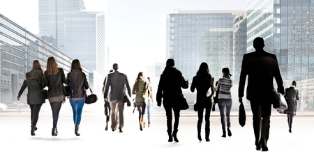 abstracts: A large group of people on a light background. Panorama. Urban scene.