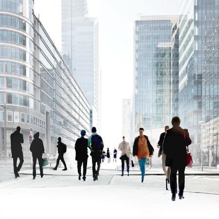 busy street: A large group of people in the office center. Urban scene.