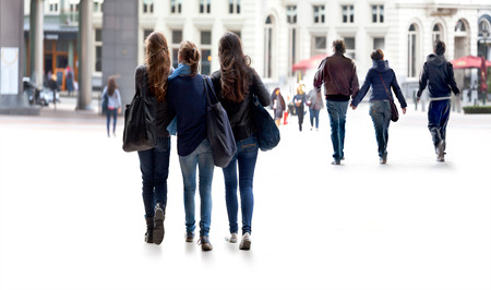 A large group of young people. Urban scene. Stock Photo - 22702758