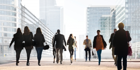 A large group of people on a light background. Panorama. Urban scene.