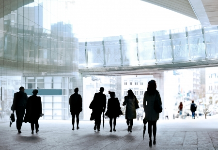A large group of people in the office center. Panorama. Urban scene. photo