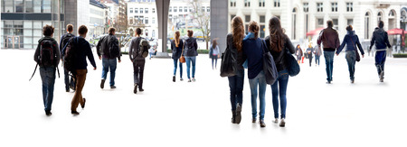 school of life: A large group of young people. Urban scene.