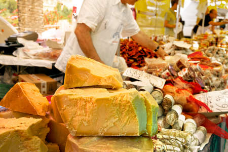Cheese market. Large selection of cheeses. photo