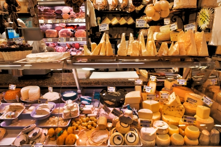 Dairy and meat products. Milk and meat market. Italy.