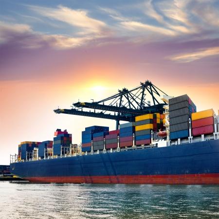 Cargo port maritime. Grues fret maritime. Mer.