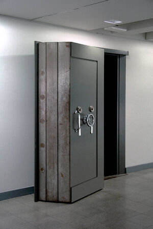 safety box: Bank Vault Door. Safe in stainless steel. Object.