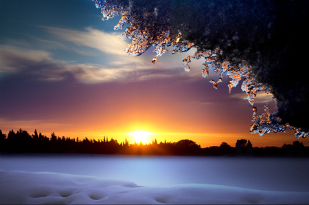 Christmas. Fairytale winter landscape. Sunset.