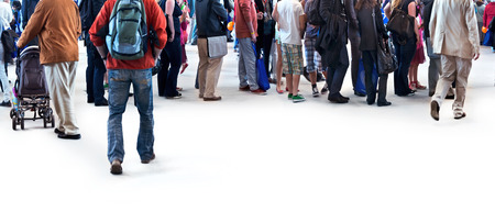 A large group of people walking. Blurred motion. Panorama. Stock Photo