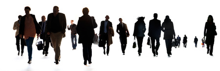 A large group of business people. Silhouettes. White background.