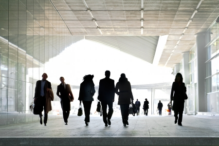 A large group of business people. Silhouettes.