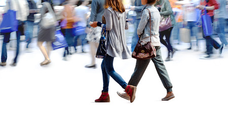 street life: A large group of people walking. Blurred motion Stock Photo