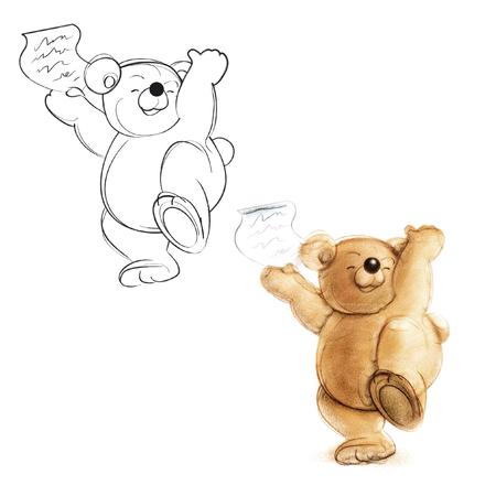 Teddybeer een brief ontvangen. Tekening beer. Stockfoto