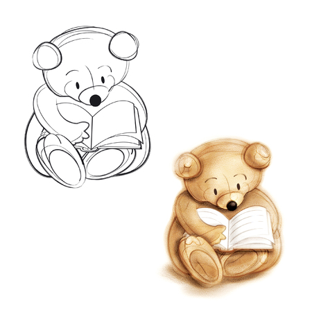 Teddy bear reading a book. Drawing bear. photo