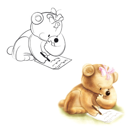 teddy bear love: Bear writes a letter. Drawing bear.