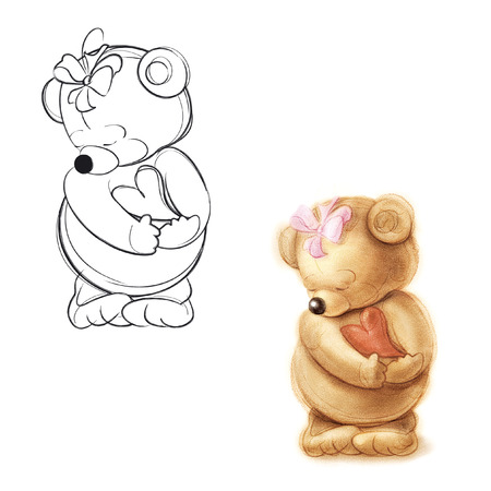 Teddy bear in love. Drawing bear.