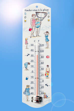 Thermometer measures extremely hot temperature of 32 degrees Celsius  32 ? C  90 ? F during heat wave  heat wave in summer