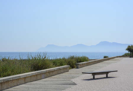 Ocean view with mountains in Son Baul�, Can Picafort, Majorca  photo