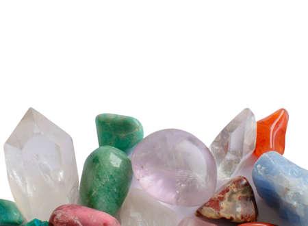 semiprecious: Semiprecious gemstones isolated on white