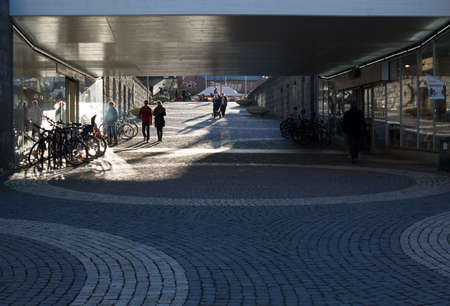 functionalism: Street view Vallingby City with the original cobble stone circle design from the fifties