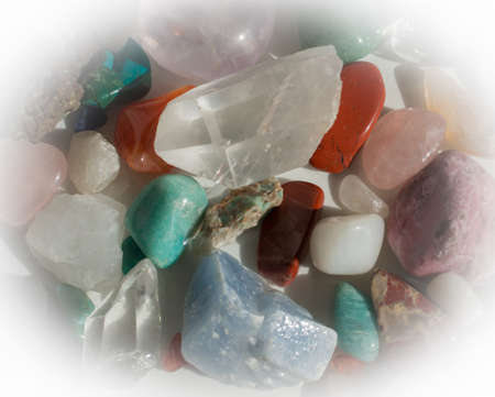 Heap of semi-precious stones - aventurine, quartz, calcite, turquoise, rhodochrosite, rose quartz and more Stock Photo - 27471581