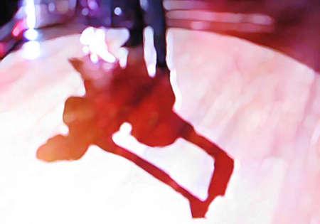 pies bailando: Abstracto pista de baile de sal�n 18, pintura digital en color canela rojo, p�rpura, blanco, azul,