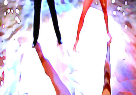 Ballroom dance floor abstract 9, digital painting in blue, black, white, bright turquoise and skin tan and red colors  photo