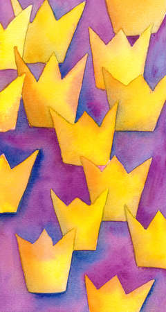 succession: Succession royal abstract vertical watercolor painting with golden yellow crown shapes on purple magenta and blue background
