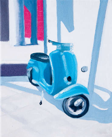 Siesta oil painting - turquoise scooter rests in sharp Mediterranean mid day light  Stock Photo