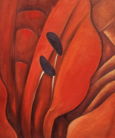 Orange lily nr 2,  oil painting with canvas texture photo