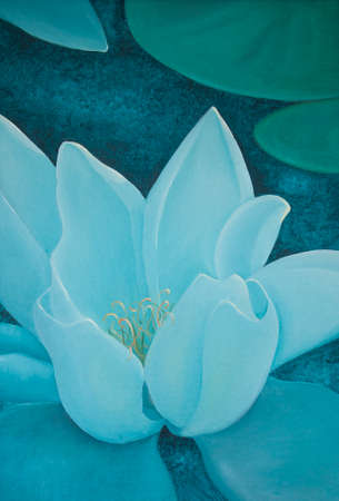 tranquility: Turquoise water lily oil painting closeup, with a sense of calm focus, vertical format