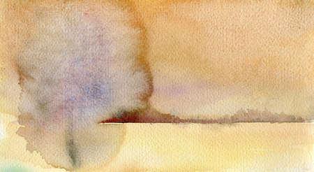 poetic: Watercolor landscape background in warm earthy colors, horizontal format