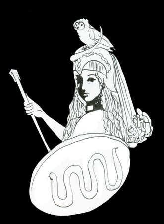 Pallas Athena ink drawing with attributes - the owl or falcon, shield with snake and stick isolated on black  photo
