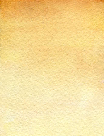 Watercolor paper texture background in sienna yellow fading to light, vertical format