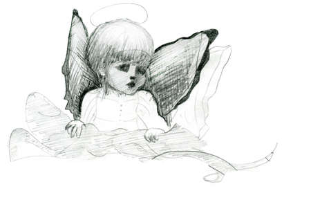 Little angel with wings and halo doodle pencil sketch with wings and halo photo