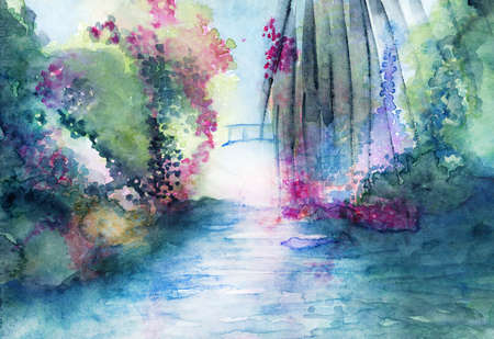 meditative: Romantic bridge and water landscape fantasy watercolor in many colors