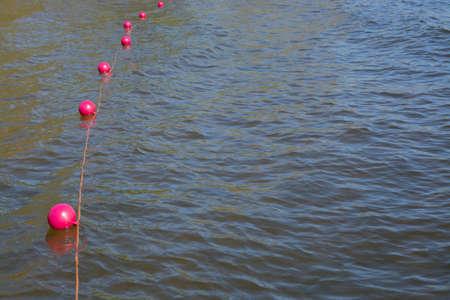boyas: Boyas de color rosa en el agua del lago, Estocolmo, Suecia, en mayo.