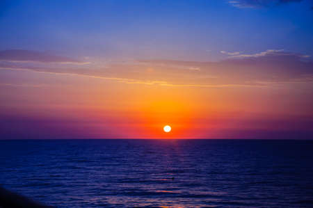 Pink yellow blue sunrise on the Mediterranean from Costa Blanca, Spain. Stock Photo